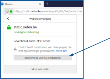 Bescherming voor nu uitschakelen in Firefox