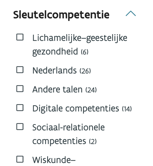 Sleutelcompetenties filter