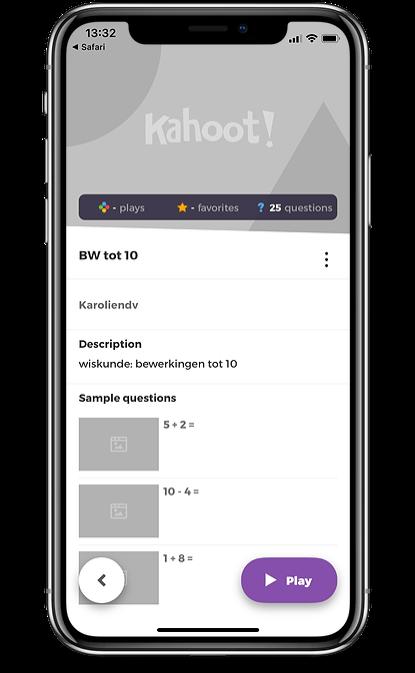 Kahoot! app om alleen de quizzen
