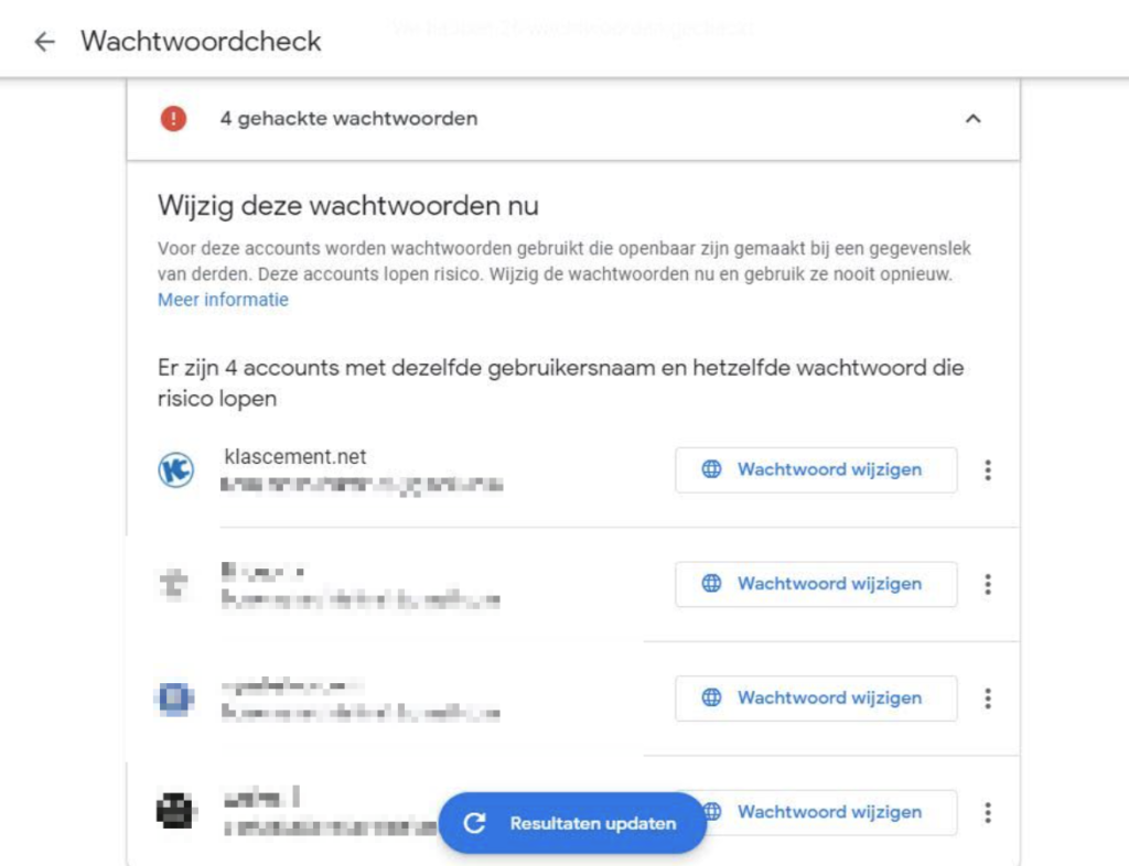 Screenshot Chrome Wachtwoordcheck