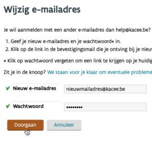 wijzig e-mailadres - doorgaan